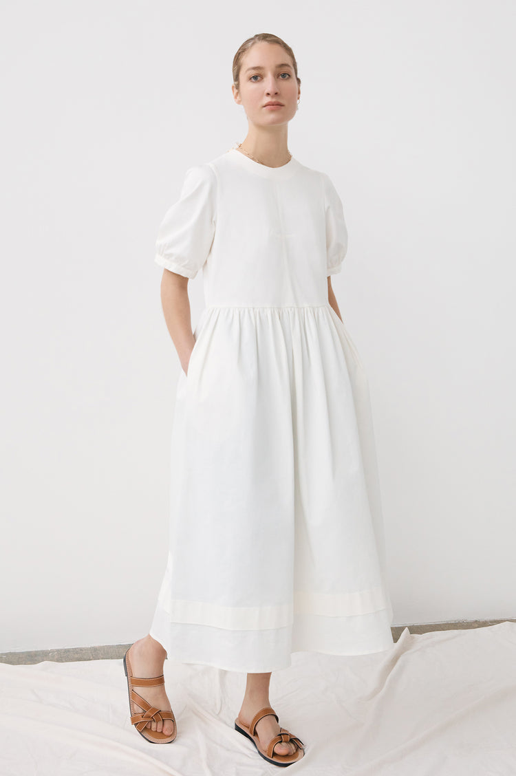 New In! Dawn Organic Cotton Pleat Back Dress in Ecru