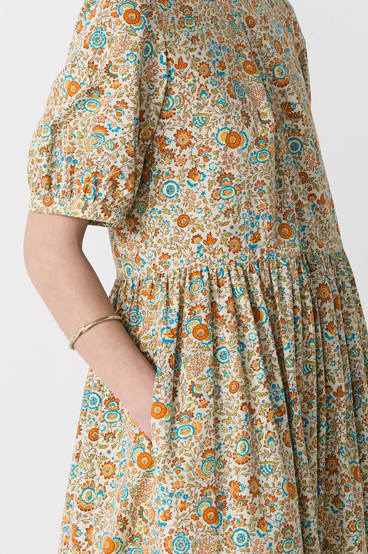 New In! Dawn Organic Cotton Pleat Back Floral Dress