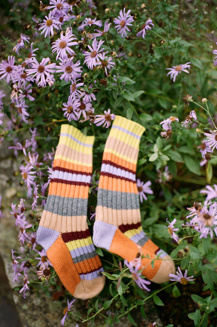 Lois Stripe Hand Knit Geelong Socks in Orange