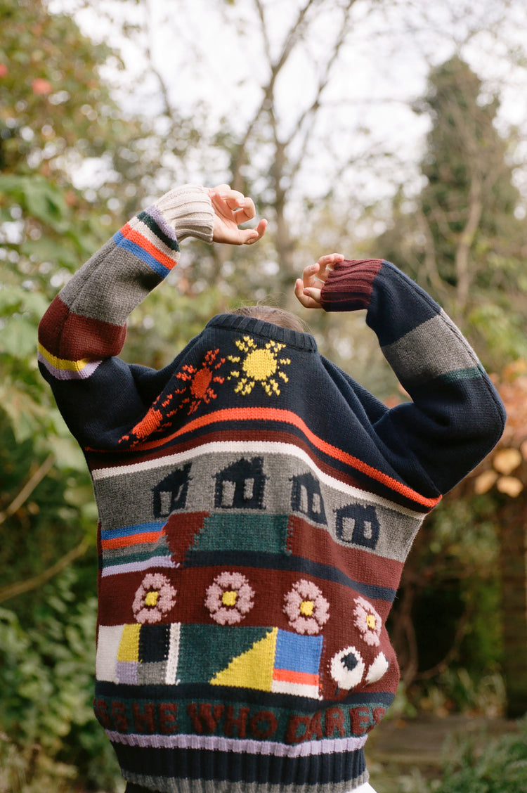 Edith Hand Knit Jumper in Navy