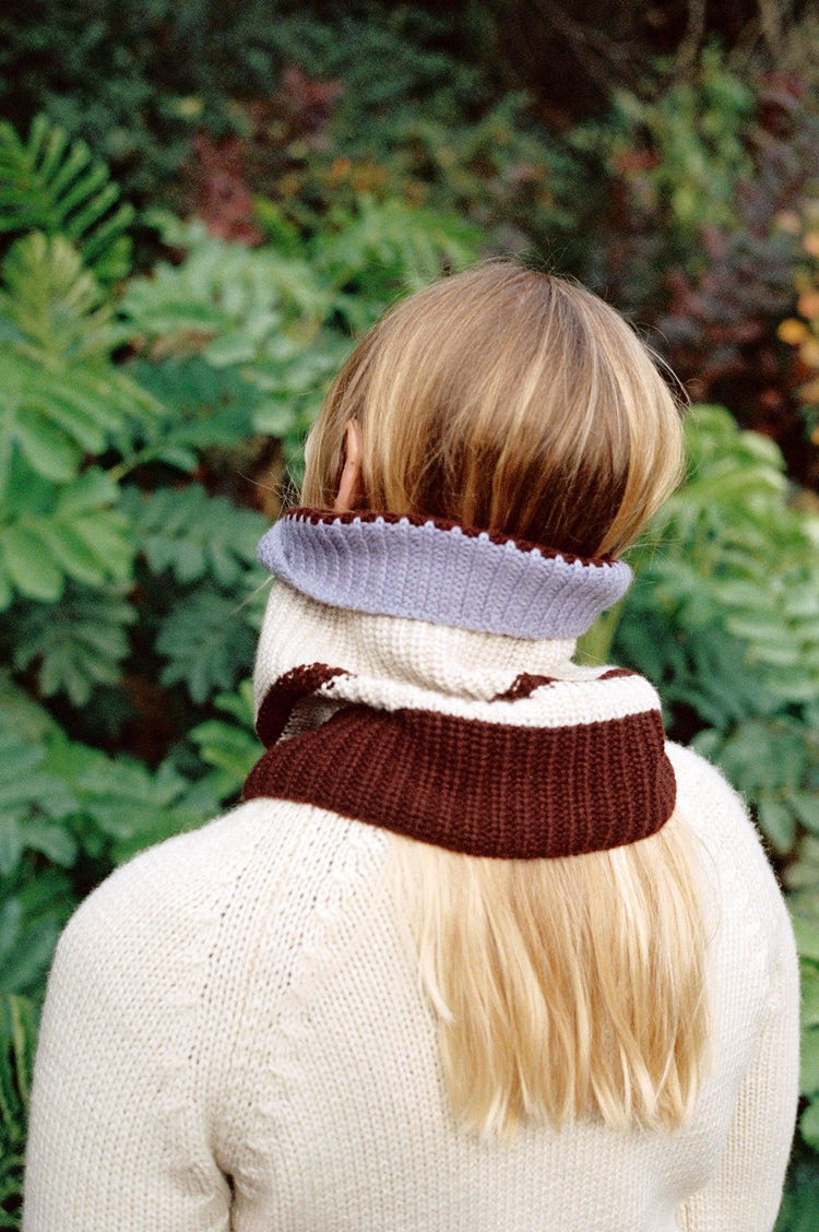 Vera Striped Cashmere Snood in Ecru
