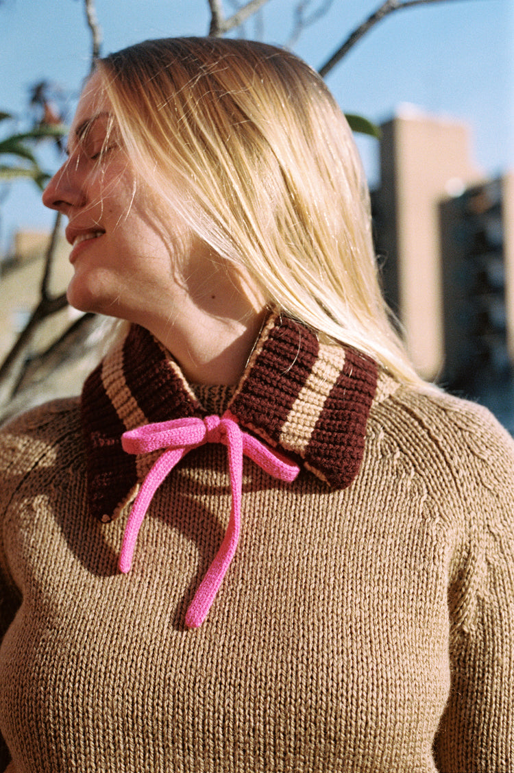 Maude Stripe Hand Knit Geelong Collar in Camel