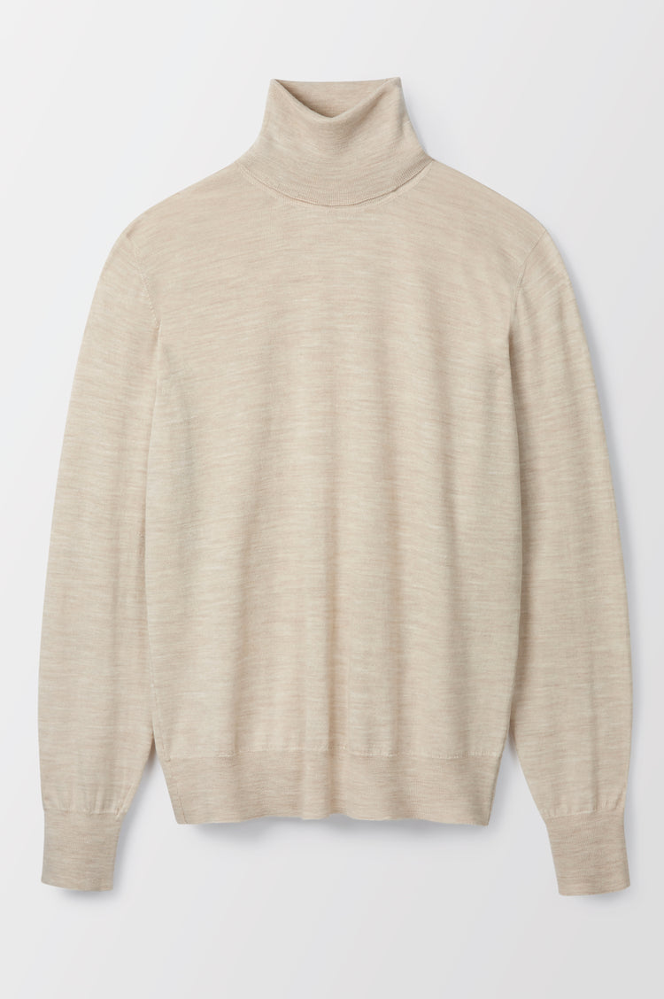 Edna Extrafine Merino Roll Neck in Beige