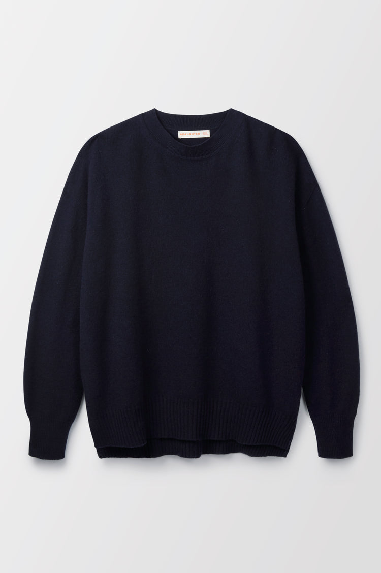 Elspeth Slouch Cashmere Crewneck in Dark Navy