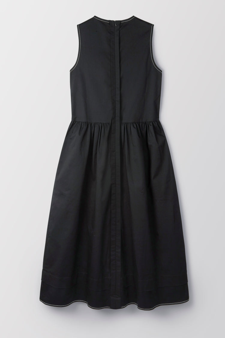New In! Evelyn Pleat Back Organic Cotton Sleeveless Dress in Black
