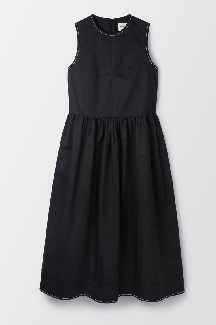 Evelyn Pleat Back Organic Cotton Sleeveless Dress in Black