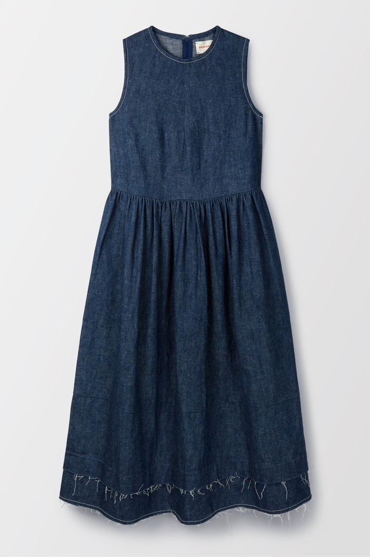 New In! Evelyn Raw Edge Organic Hemp & Cotton Sleeveless Dress