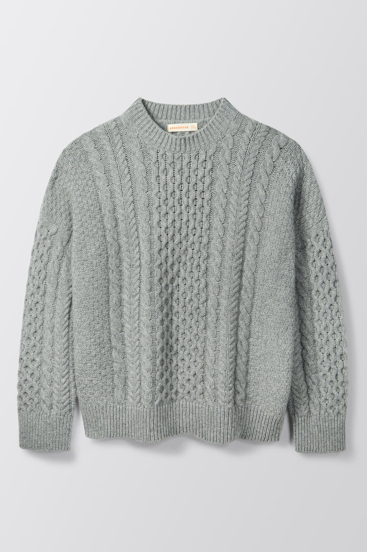 New In! Ina Geelong Aran Crewneck in Flannel Grey