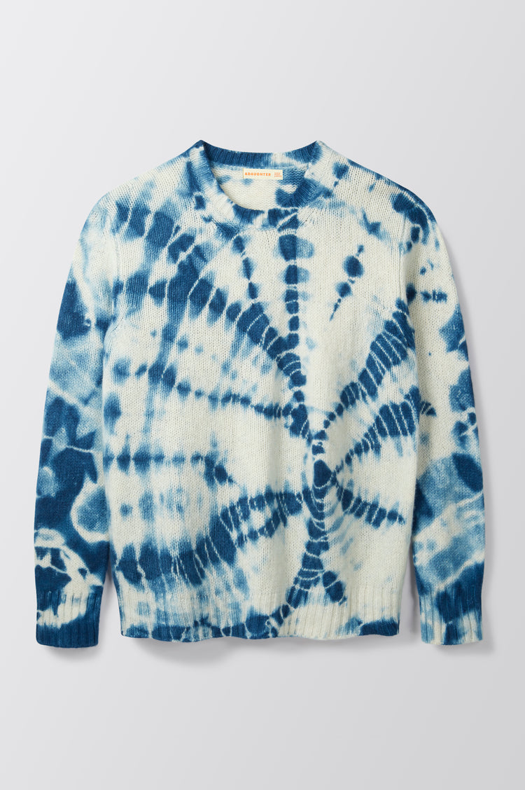 New In! Mila Tie Dye Geelong Slouch Crewneck in Indigo Blue