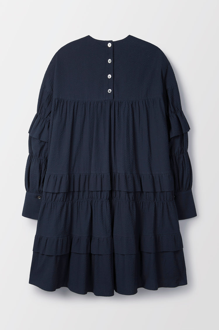 New In! Freda Tiered Trapeze Dress in Navy Cotton Seersucker