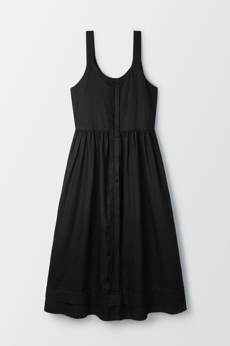 New In! Marie Linen Pleat Back Sundress in Black
