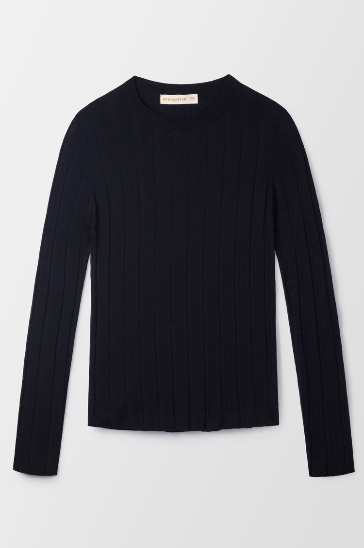New In! Mathilda Extrafine Merino Ribbed Crew in Navy