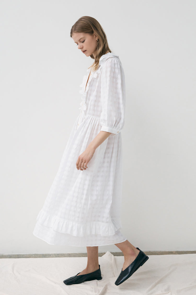 Rosa Modern Frill Shirtdress in Ecru