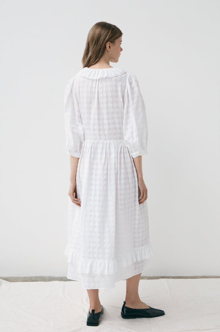 New In! Rosa Modern Frill Shirtdress in Ecru