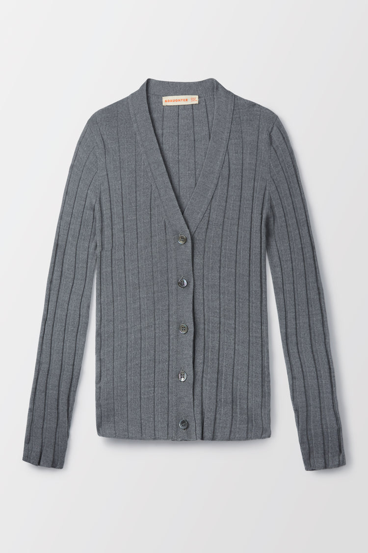 Rudie Extrafine Merino Ribbed Cardigan in Grey