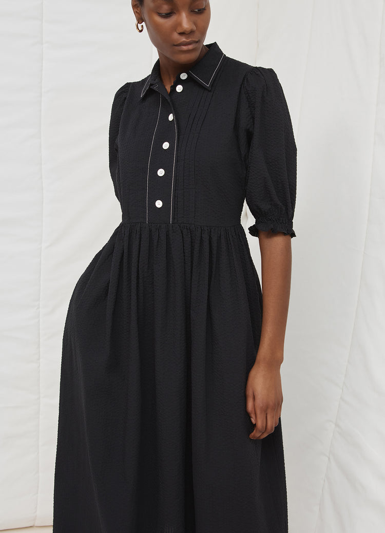 New In! Veronica Gathered Sleeve Shirtdress in Black Seersucker