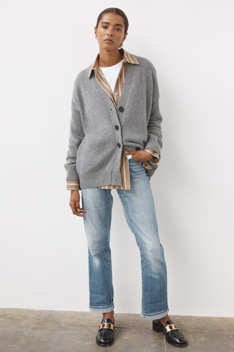 New In! Carey Lambswool Cardigan in Grey