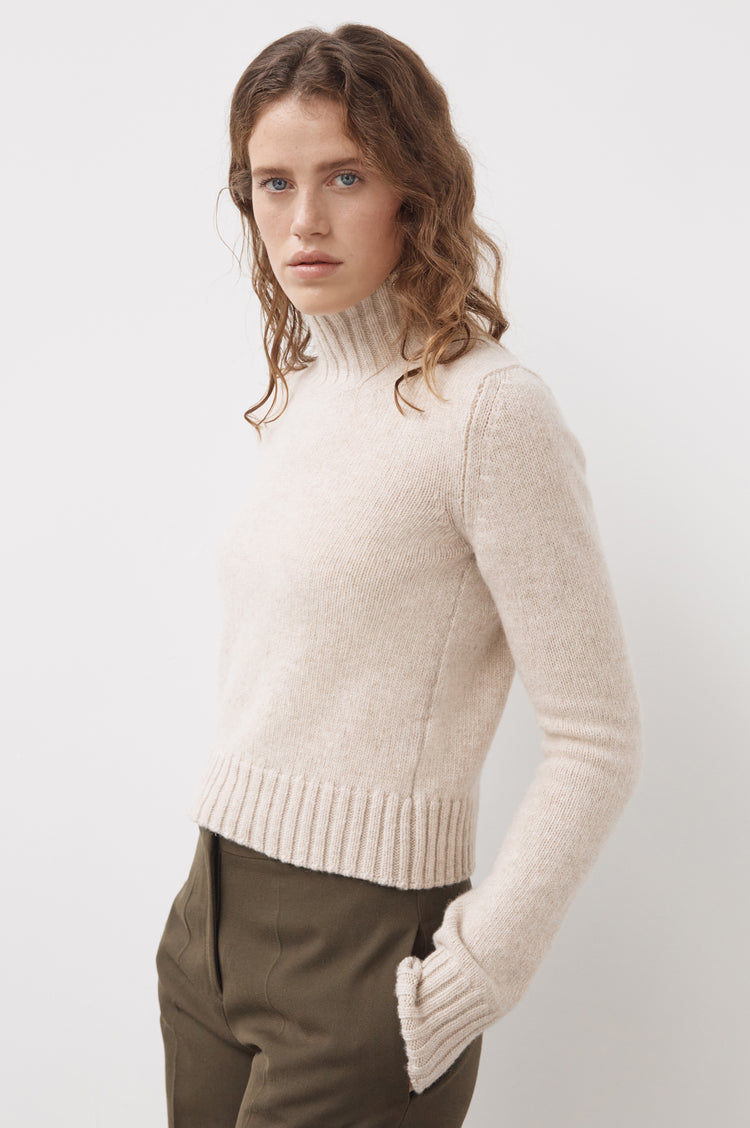 New In! Audrey Cropped Lambswool High Neck in Linen