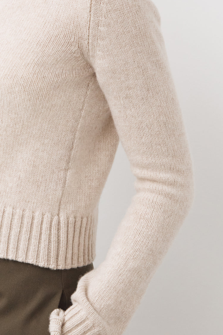 Pre Order! Audrey Cropped Lambswool High Neck in Linen