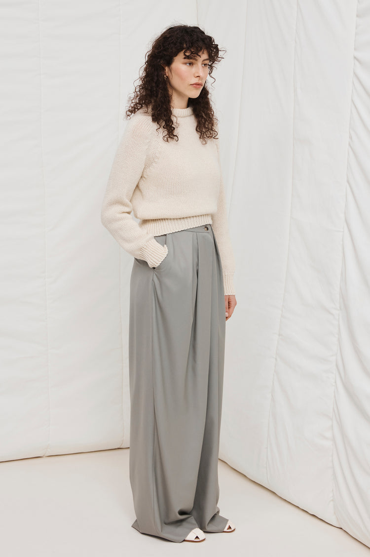 New In! Agnes Merino Cropped Crewneck in Ecru