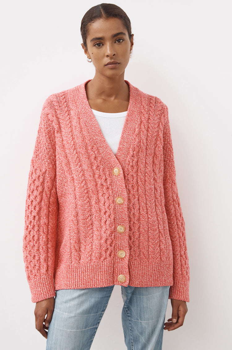 New In! Lena Slouchy Geelong Aran Cardigan in Pink Marl