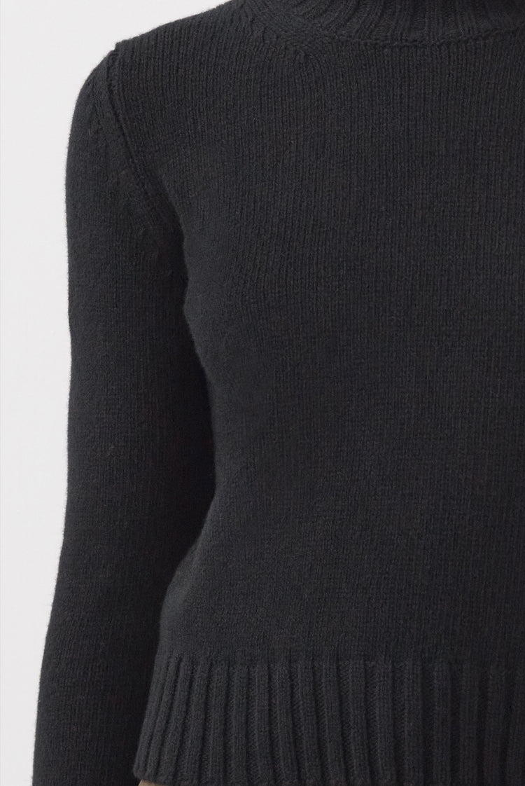 New In! Audrey Cropped Lambswool High Neck in Black