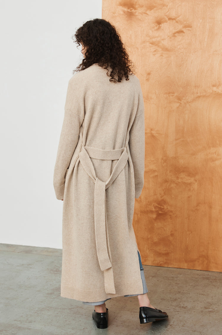New In! Ronnie Belted Lambswool Long Cardigan in Linen