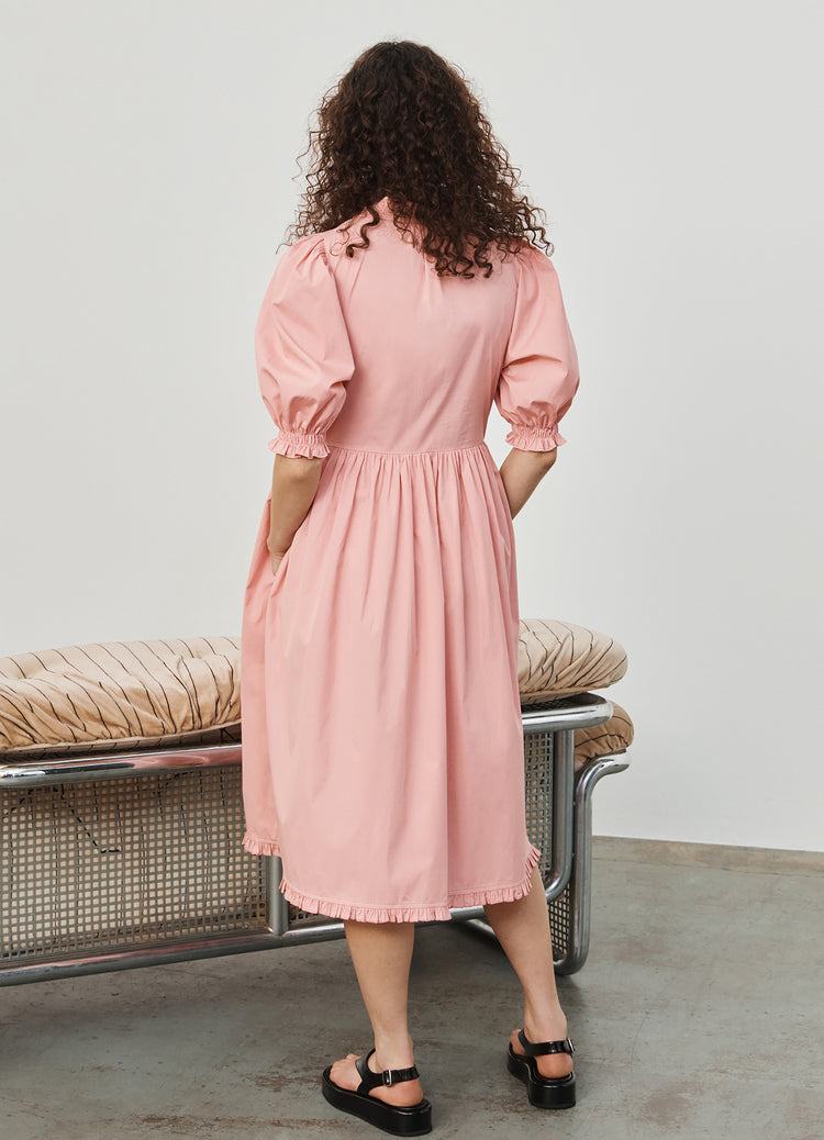 New In! Veronica Gathered Sleeve Midi Shirtdress in Pink