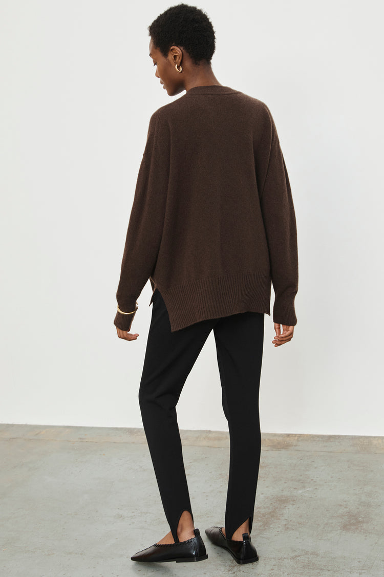 New In! Elspeth Slouch Cashmere Crewneck in Dark Brown
