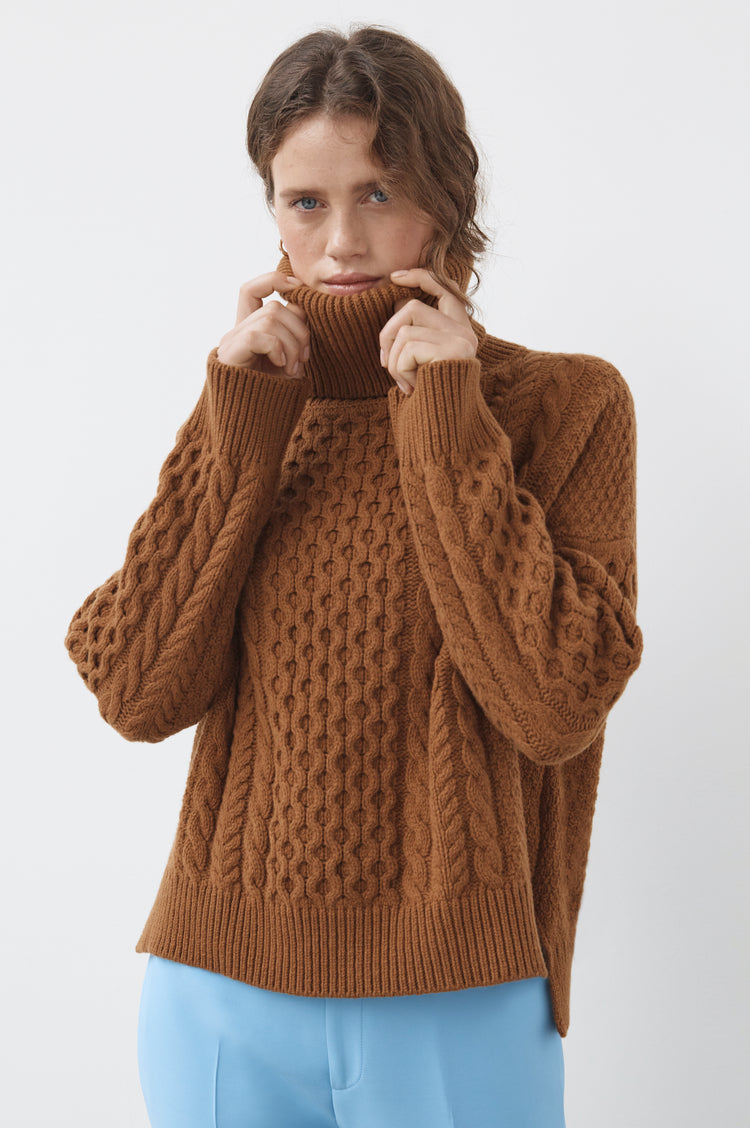 Pre Order! Alva Geelong Aran Cocoon Roll Neck in Camel