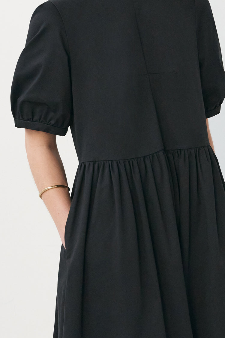 Dawn Organic Cotton Pleat Back Dress in Black