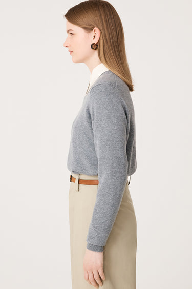 Laragh Cashmere Crewneck in Flannel Grey