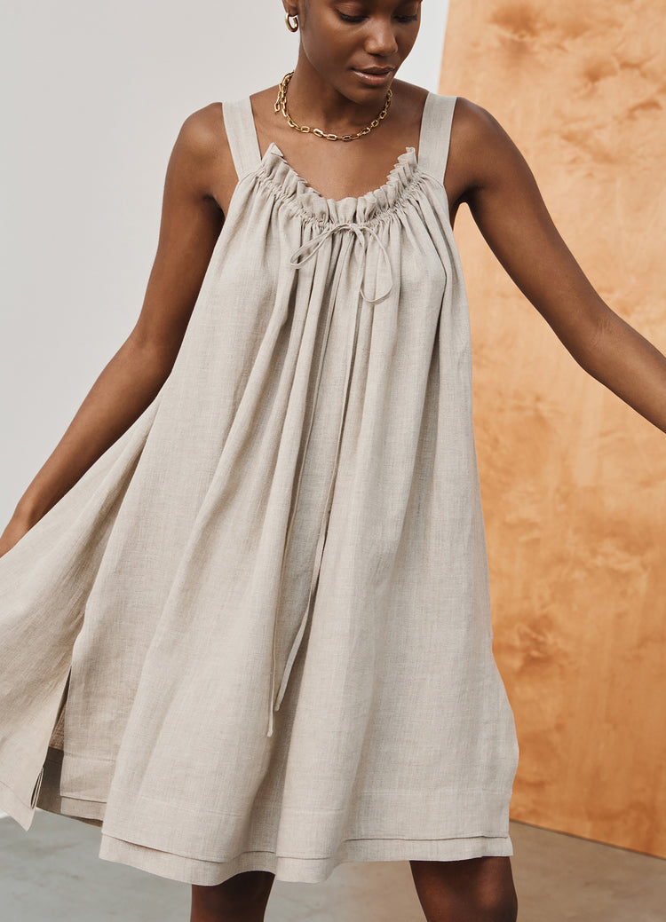 Pre Order! Bella Drawstring Sundress in Linen