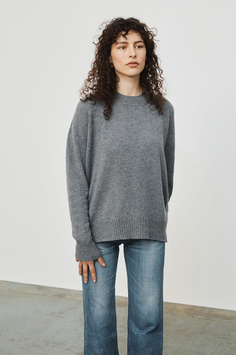 New In! Elspeth Slouch Cashmere Crewneck in Grey