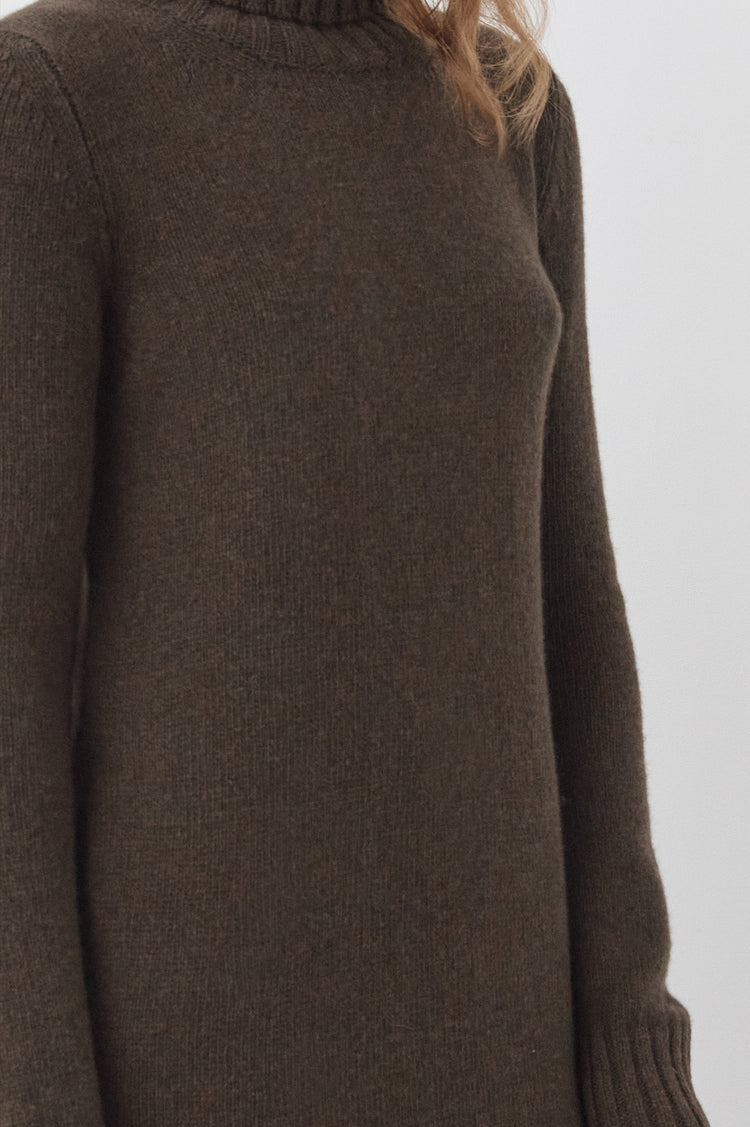 Pre Order! Simone Lambswool Roll Neck Dress in Acorn