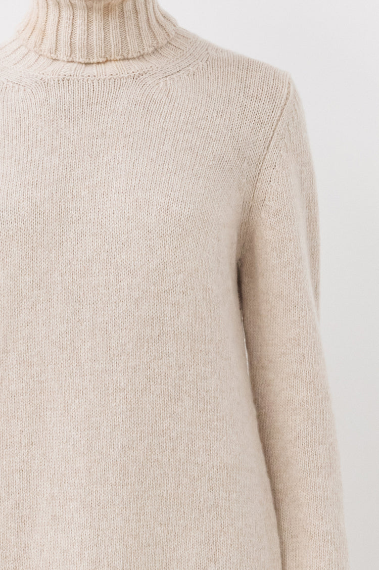 Pre Order! Simone Lambswool Roll Neck Dress in Linen