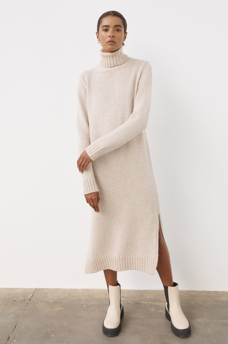 Simone Lambswool Roll Neck Dress in Linen