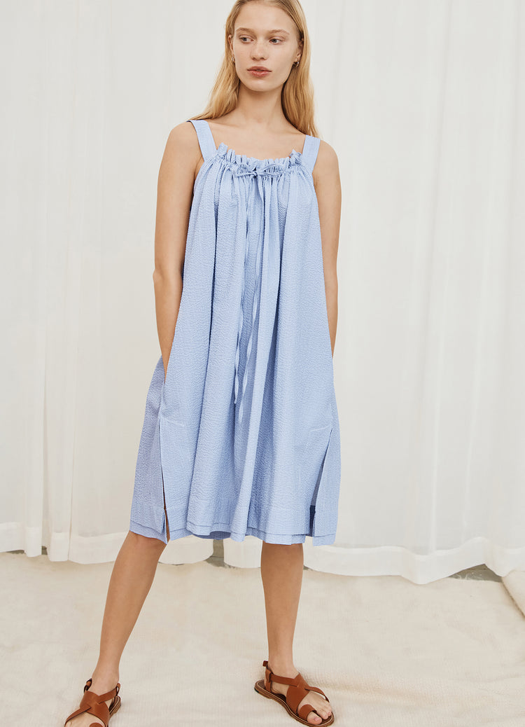 Pre Order! Bella Drawstring Sundress in Blue