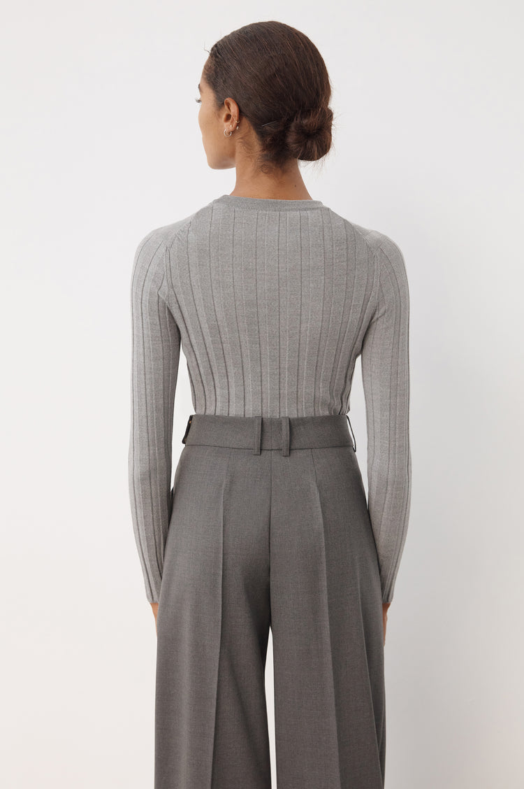 Pre Order! Mathilda Extra-fine Merino Ribbed Crew in Grey