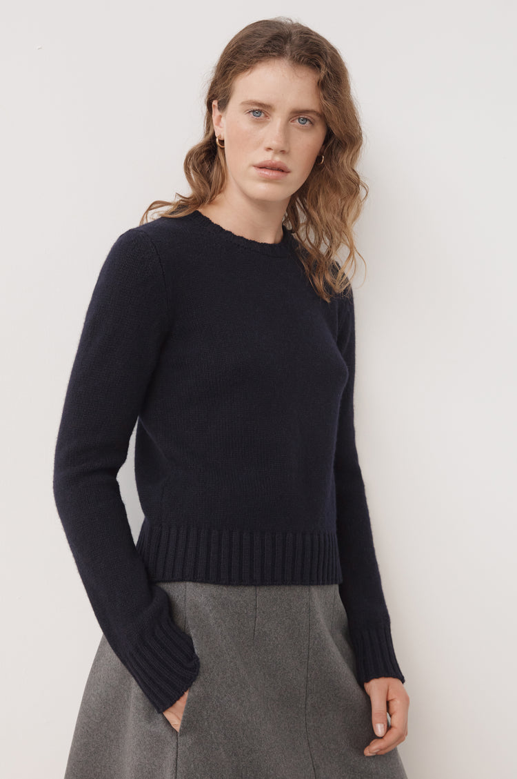 New In! Daphne Cropped Lambswool Crewneck in Navy