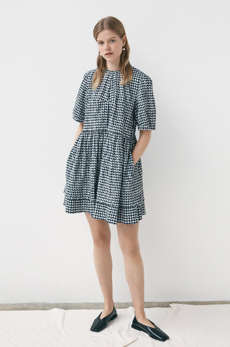 Esther Crushed Gingham Short Dress in Black and White