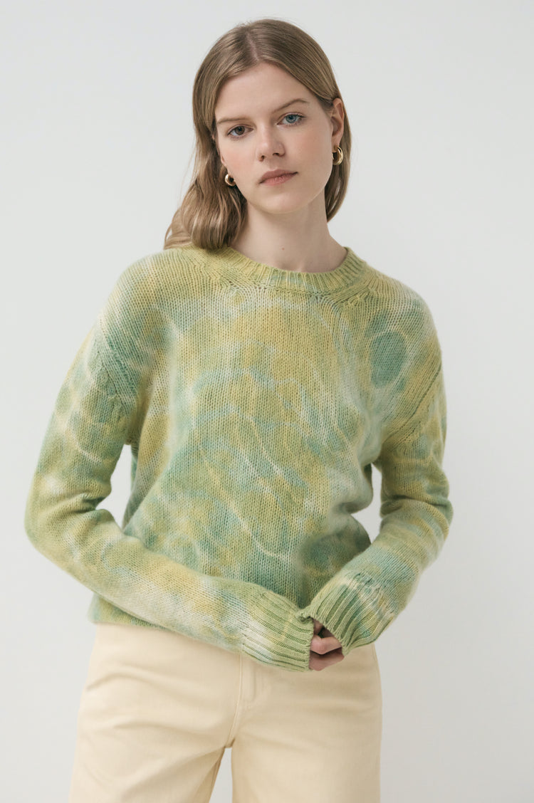 New In! Mila Tie Dye Geelong Slouch Crewneck in Green