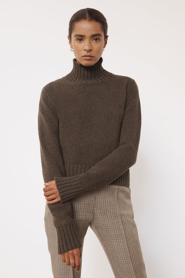 New In! Audrey Cropped Lambswool High Neck in Acorn