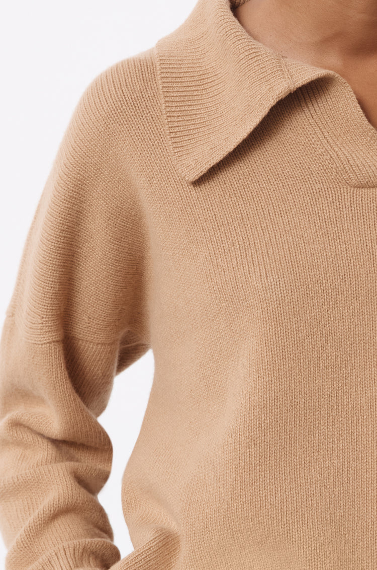 Quinn Collared Knit in Camel