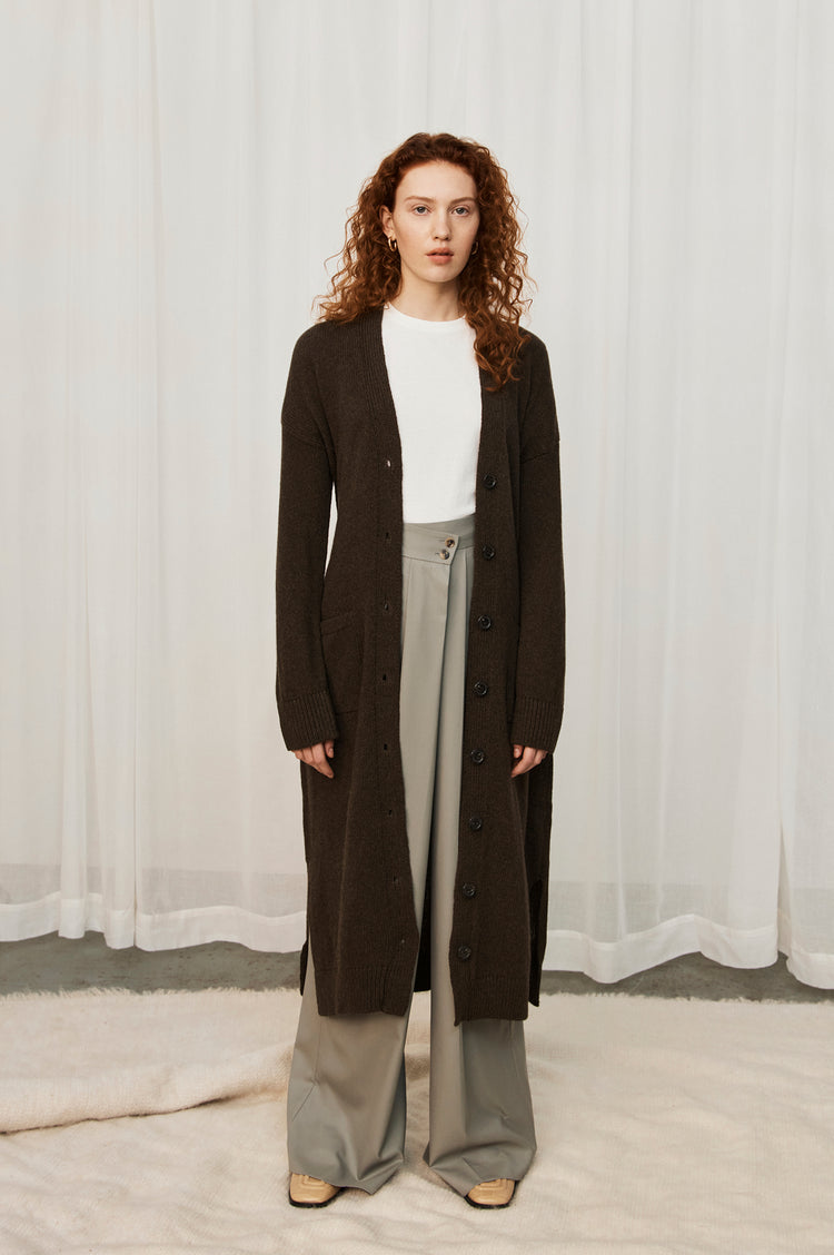 New In! Ronnie Belted Lambswool Long Cardigan in Acorn