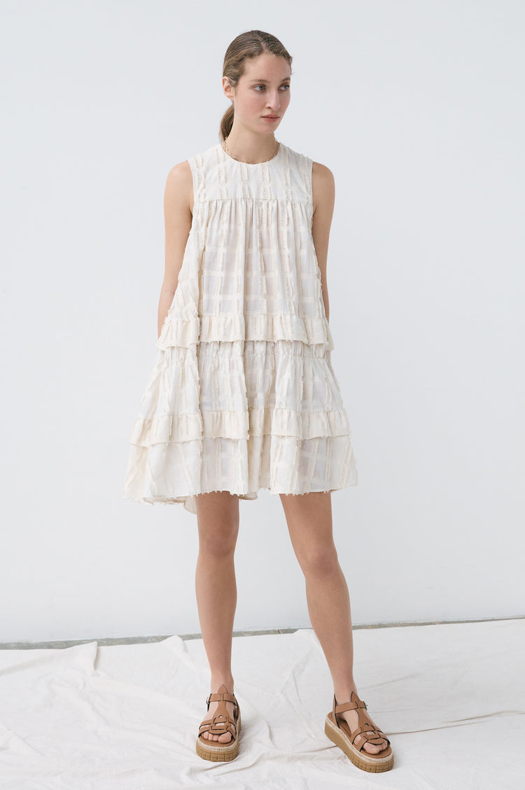 New In! Peggy Tiered Trapeze Sleeveless Short Dress in Ecru