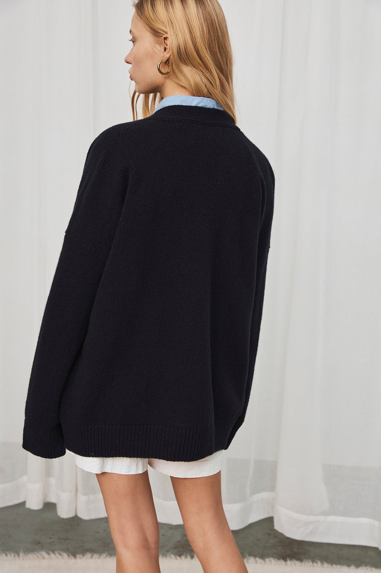 New In! Carey Lambswool Cardigan in Navy