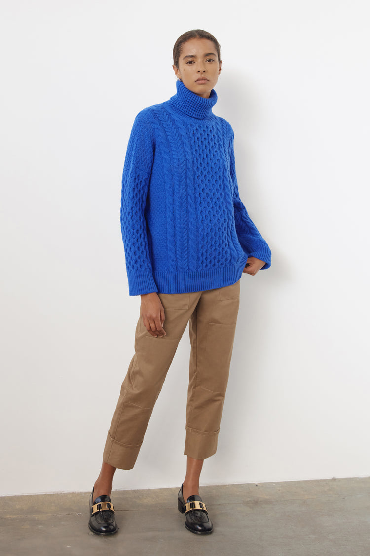 New In! Annis Geelong Aran Roll Neck in Klein Blue