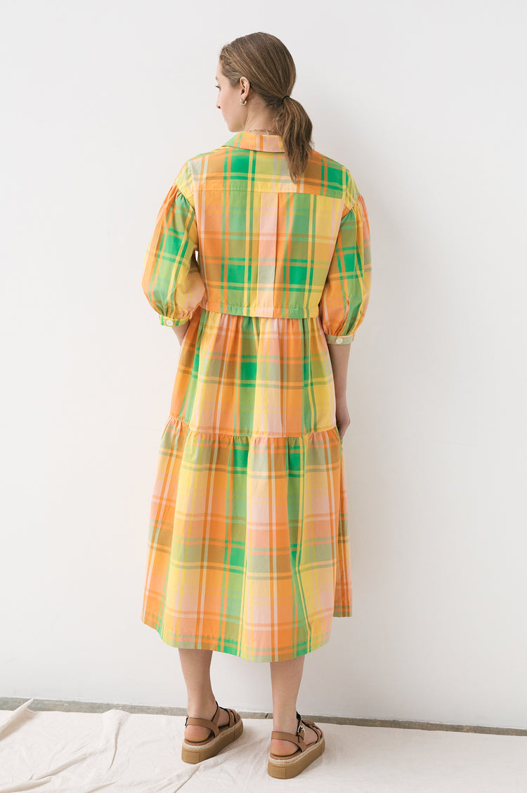 New In! Gwen Madras Utility Shirtdress in Orange