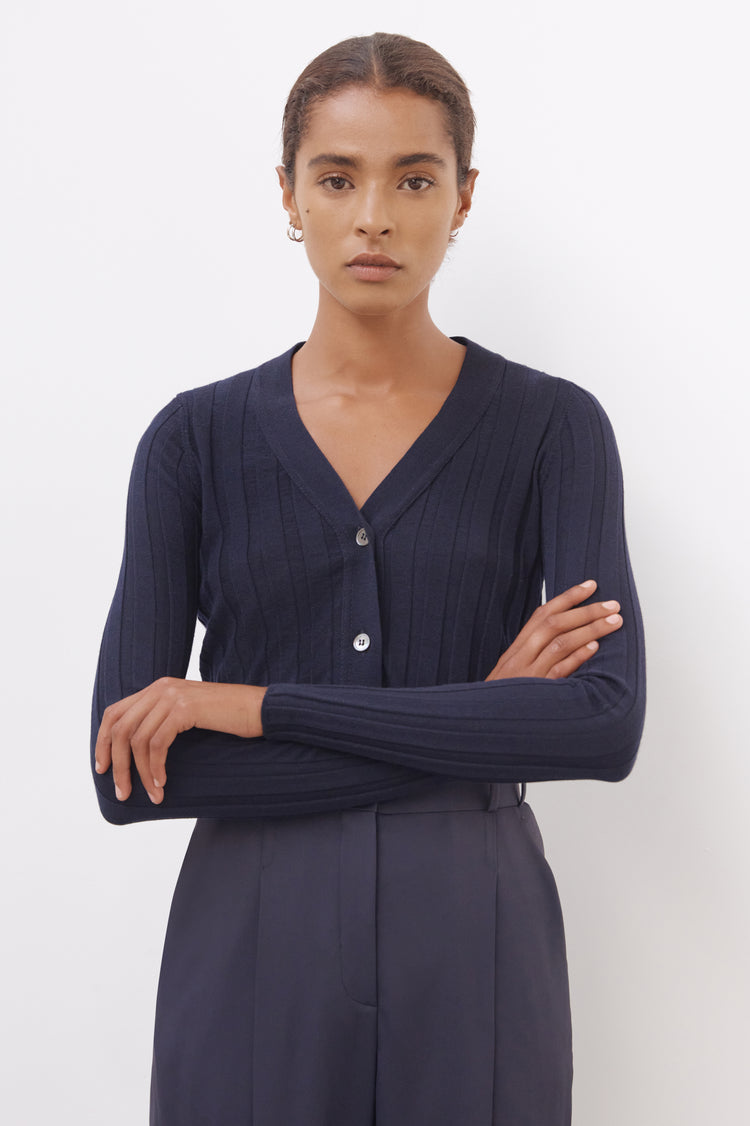 Pre Order! Rudie Extrafine Merino Ribbed Cardigan in Navy